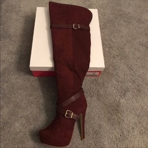 Burgundy Knee-High Boots